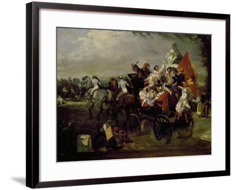 Carriage with Bearing People with Masks in Place De La Concorde in Paris, 1834, Painting by Lamy--Framed Art Print