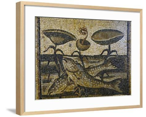 Two Fish Between the Waterlilies by Daphne, Mosaic, Roman Civilisation, 5th Century--Framed Art Print