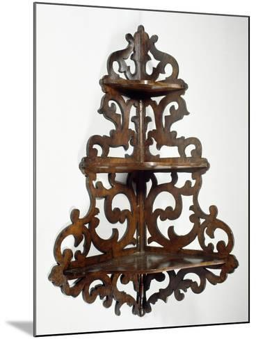 Eclectic Style Walnut Lombard Wall Mounted Etagere, Ca 1850, Italy, 19th Century--Mounted Giclee Print
