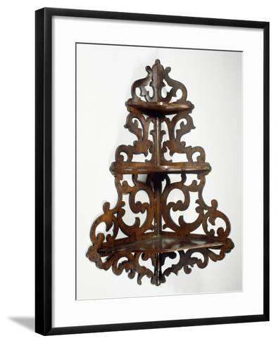 Eclectic Style Walnut Lombard Wall Mounted Etagere, Ca 1850, Italy, 19th Century--Framed Art Print