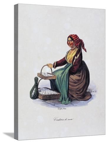 Egg Seller, by Gaetano Dura (1805-1878), Lithograph, Italy, 19th Century--Stretched Canvas Print