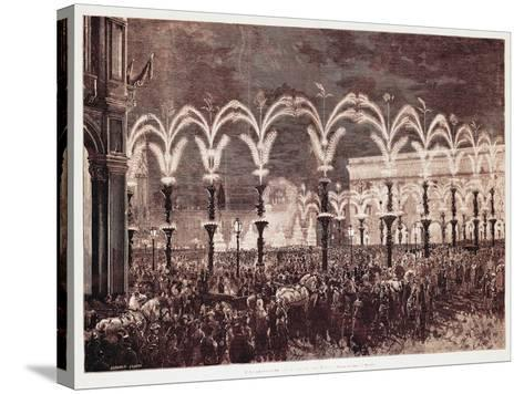 Gas Lighting in Cathedral Square in Milan, 1881, Italy, 19th Century--Stretched Canvas Print
