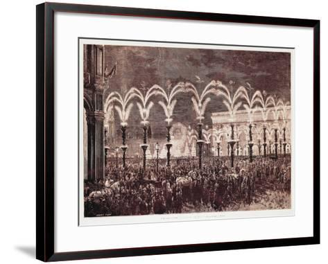 Gas Lighting in Cathedral Square in Milan, 1881, Italy, 19th Century--Framed Art Print