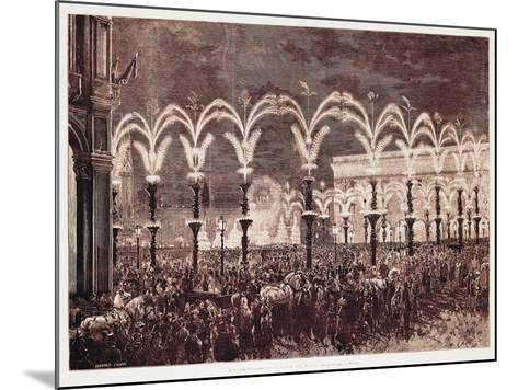 Gas Lighting in Cathedral Square in Milan, 1881, Italy, 19th Century--Mounted Giclee Print