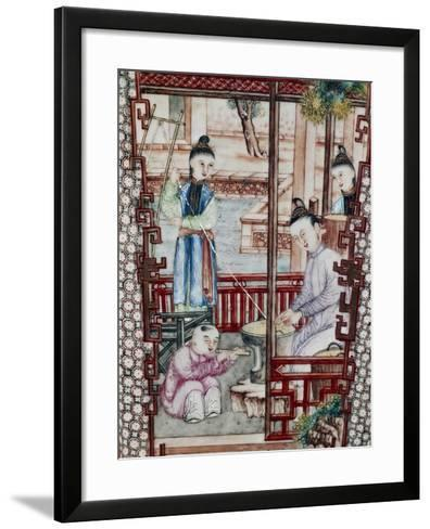 Silk Spinning, Decorative Detail from Vase, Ceramic, China, 18th Century--Framed Art Print
