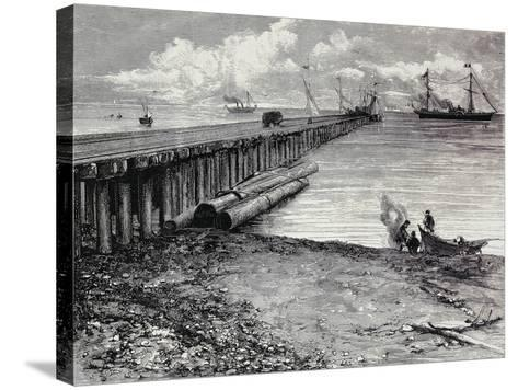 San Leon Mine, Boarding Deck of Ore for Maddalena, Sardinia, Italy, 19th Century--Stretched Canvas Print