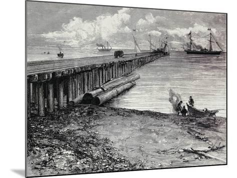 San Leon Mine, Boarding Deck of Ore for Maddalena, Sardinia, Italy, 19th Century--Mounted Giclee Print