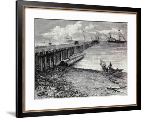 San Leon Mine, Boarding Deck of Ore for Maddalena, Sardinia, Italy, 19th Century--Framed Art Print