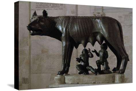 The Capitoline Wolf (Lupa Capitolina) Suckling Romulus and Remus. the Capitoline Museums. Rome. Ita--Stretched Canvas Print