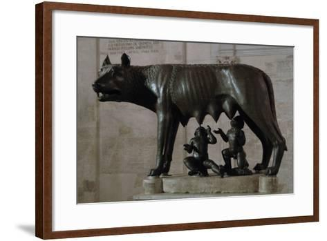 The Capitoline Wolf (Lupa Capitolina) Suckling Romulus and Remus. the Capitoline Museums. Rome. Ita--Framed Art Print
