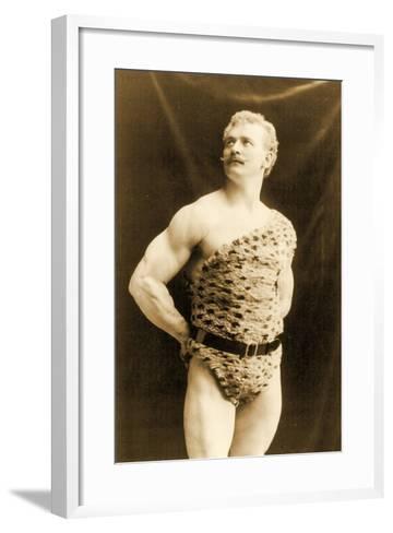 Eugen Sandow Wearing Leopard Skin, in Classical Ancient Greco-Roman Pose, C.1894--Framed Art Print