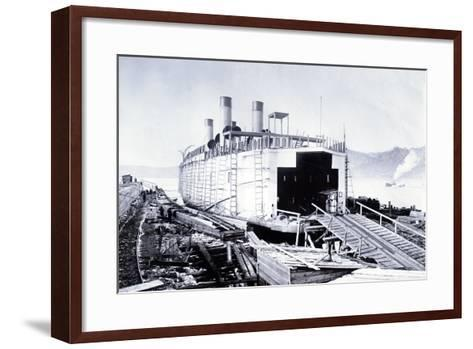 Showing a Bow View of the Ice Breaking Train Ferry Steamer 'Ss Baikal' Fitting Out on Lake Baikal--Framed Art Print