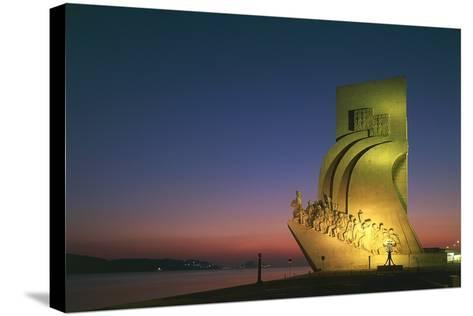 Monument to Discoveries, 1960, on Bank of Tagus River, Night View, Belem District, Portugal, Detail--Stretched Canvas Print