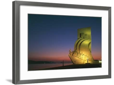 Monument to Discoveries, 1960, on Bank of Tagus River, Night View, Belem District, Portugal, Detail--Framed Art Print