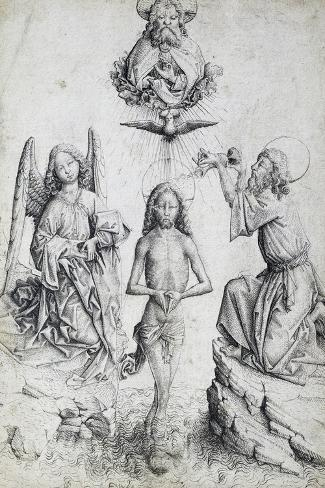 Baptism of Christ, by Master E S (Active 1420-1497), Germany, 15th Century--Stretched Canvas Print