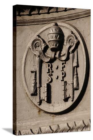 Emblem of Reverend Fabric of Saint Peter (Fabbrica Di San Pietro). St. Peter's Square. Vatican City--Stretched Canvas Print