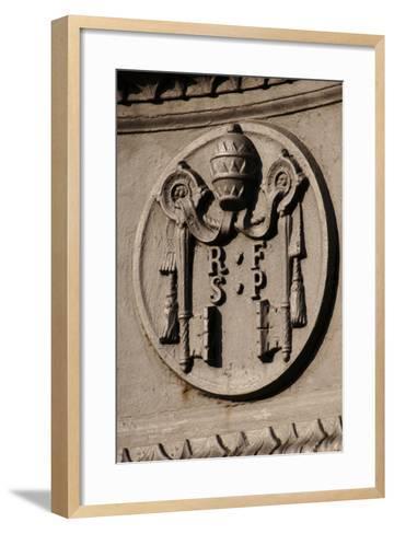 Emblem of Reverend Fabric of Saint Peter (Fabbrica Di San Pietro). St. Peter's Square. Vatican City--Framed Art Print