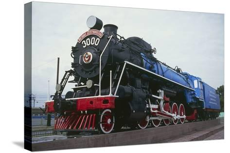 Old Steam Locomotive, Now Monument to Trans-Siberian Railway Line, in Square in Novosibirsk, Russia--Stretched Canvas Print