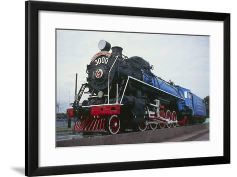 Old Steam Locomotive, Now Monument to Trans-Siberian Railway Line, in Square in Novosibirsk, Russia--Framed Art Print