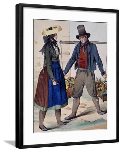 Fruits and Vegetable Vendor, from Costumes of Wuerttemberg, Germany, 19th Century--Framed Art Print