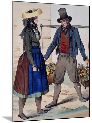 Fruits and Vegetable Vendor, from Costumes of Wuerttemberg, Germany, 19th Century--Mounted Giclee Print