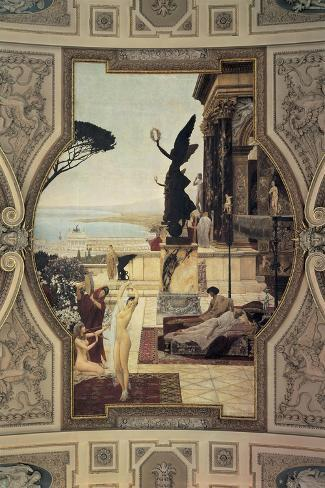Close-Up of a Painting on a Theater Wall, Taormina, Burgtheater, Vienna, Austria--Stretched Canvas Print