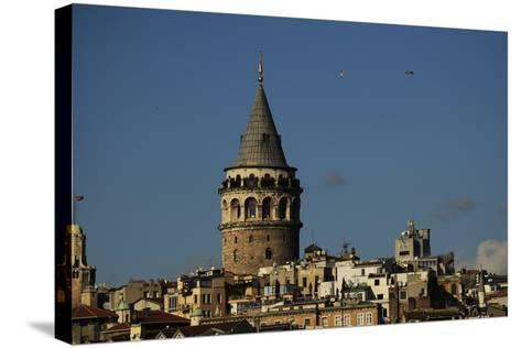 Turkey. Istanbul. Galata Tower. Medieva Stone Tower in Galata Quarter. Built in 1348--Stretched Canvas Print