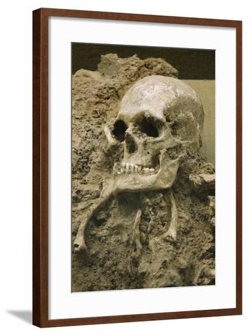 Skull from Escoural Cave. Neoli?Tco Middle-End. Archaeology Museum. Montemor-O-Novo. Portugal--Framed Art Print