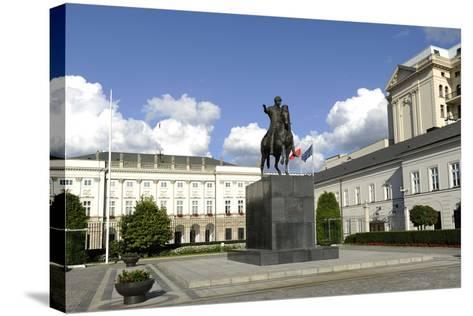 Poland. Warsaw. Presidential Palace and Statue of Prince Jozef Poniatowski (1763-1813)--Stretched Canvas Print