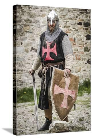 Historical Reenactment: Templar Knight with Helmet, Sword and Shield, 13th Century--Stretched Canvas Print