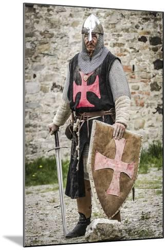 Historical Reenactment: Templar Knight with Helmet, Sword and Shield, 13th Century--Mounted Photographic Print