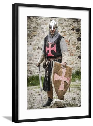 Historical Reenactment: Templar Knight with Helmet, Sword and Shield, 13th Century--Framed Art Print