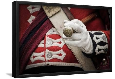 Historical Reenactment: Scottish Officer in British Army Holding Commander's Baton, 18th Century--Framed Art Print