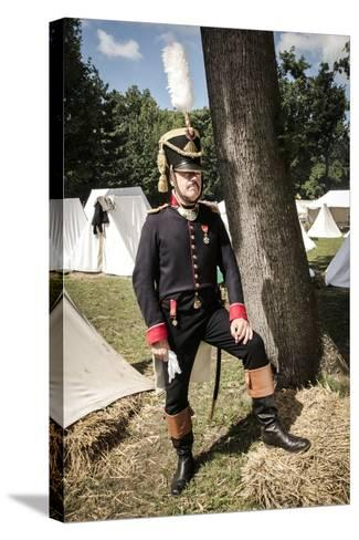 Historical Reenactment: Officer of Napoleon's Army in Military Camp, Napoleonic Wars, 19th Century--Stretched Canvas Print