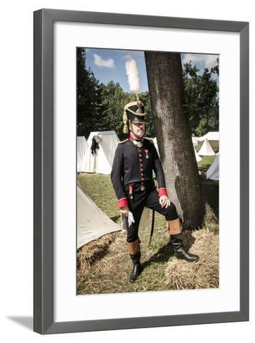 Historical Reenactment: Officer of Napoleon's Army in Military Camp, Napoleonic Wars, 19th Century--Framed Art Print