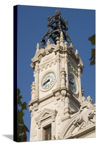 Spain - Valencia. City Hall Ayuntamiento Building, 19th-20th Century. Clock Tower--Stretched Canvas Print