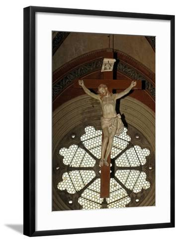 Crucifixion and Rose Window, Basilica of Sant'Andrea (1219-1227), Vercelli, Piedmont, Italy--Framed Art Print