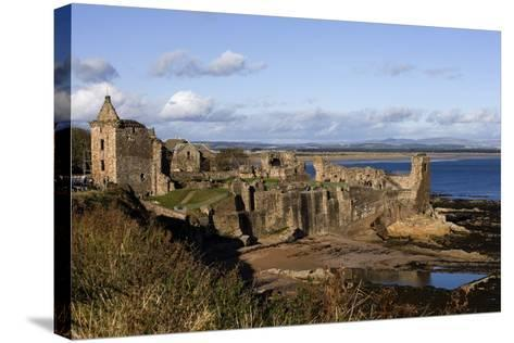 Ruins of St Andrews Castle (Founded in 1200), St Andrews Bay, Scotland, United Kingdom--Stretched Canvas Print