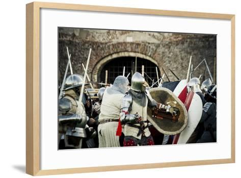 Historical Reenactment: Fighting Between Armour-Clad Soldiers with Shields, 14th Century--Framed Art Print
