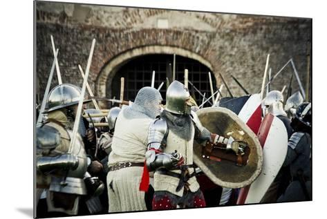 Historical Reenactment: Fighting Between Armour-Clad Soldiers with Shields, 14th Century--Mounted Photographic Print