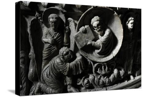 Moses Receives the Law. Baptismal Font. 12th Century. Basilica of San Frediano. Lucca--Stretched Canvas Print
