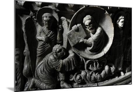 Moses Receives the Law. Baptismal Font. 12th Century. Basilica of San Frediano. Lucca--Mounted Photographic Print