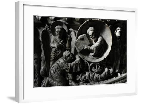 Moses Receives the Law. Baptismal Font. 12th Century. Basilica of San Frediano. Lucca--Framed Art Print