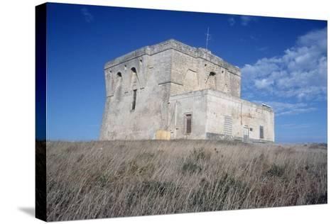 Aragonese Watch Tower, 16th Century, Torre Guaceto Natural Reserve, Apulia, Italy--Stretched Canvas Print