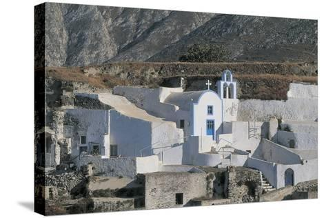 Facade of a Church, Episkopi, Santorini, Cyclades Islands, Southern Aegean, Greece--Stretched Canvas Print