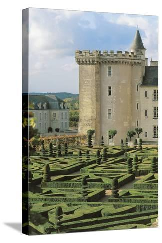 High Angle View of a Formal Garden in Front of a Castle, Villandry, Centre, France--Stretched Canvas Print