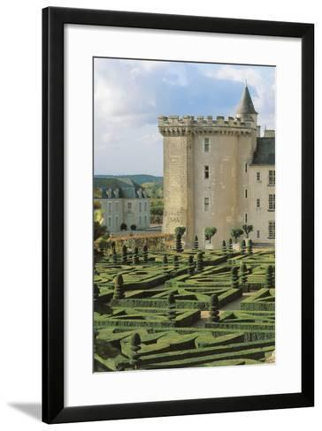 High Angle View of a Formal Garden in Front of a Castle, Villandry, Centre, France--Framed Art Print