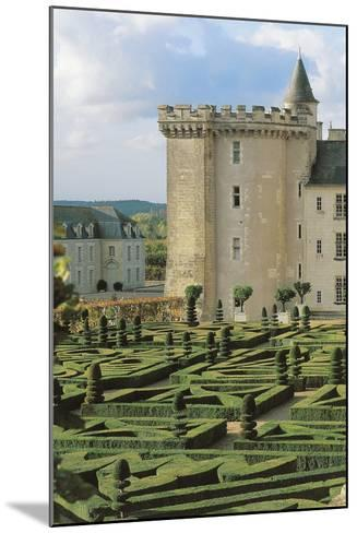 High Angle View of a Formal Garden in Front of a Castle, Villandry, Centre, France--Mounted Photographic Print