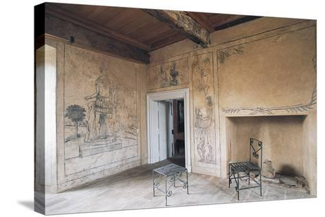 Room with Monochrome Frescoes, Chateau of Lacapelle-Marival, Midi-Pyrenees, France--Stretched Canvas Print
