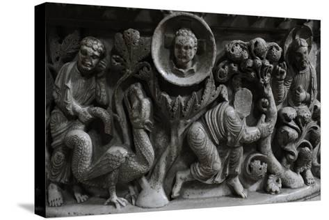 Moses and the Burning Bush. Baptismal Font. 12th Century. Basilica of San Frediano. Lucca--Stretched Canvas Print